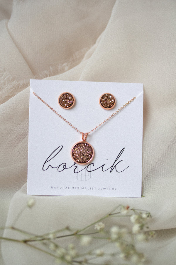 Ava Rose Gold Druzy Necklace and Earrings Set