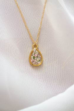 Pressed Flower Teardrop Necklace