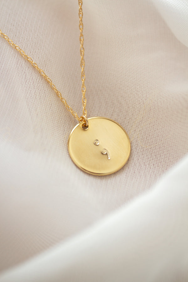 Semicolon Gold Disc Necklace