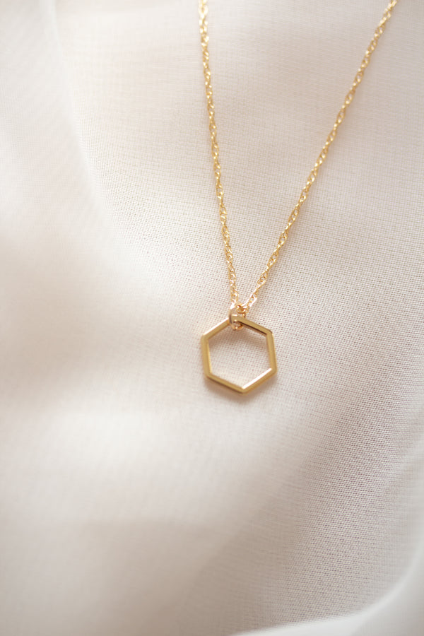 Minimalist Hexagon Necklace
