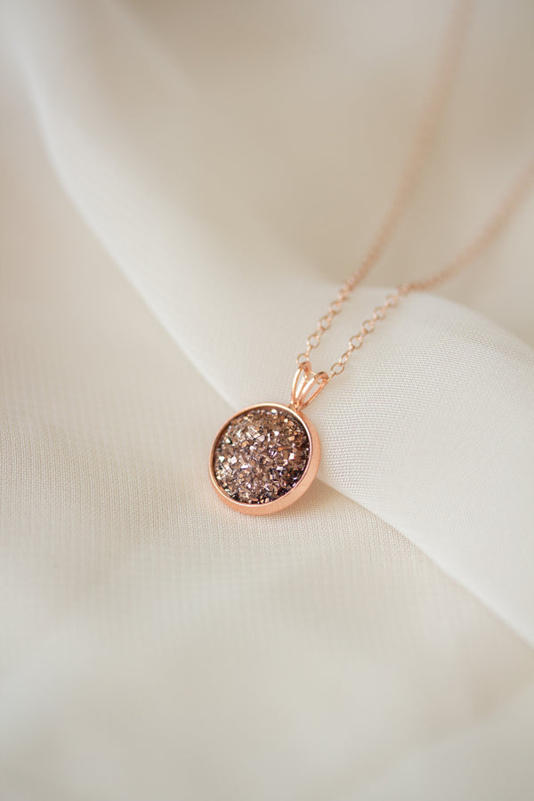Ava Rose Gold Druzy Necklace