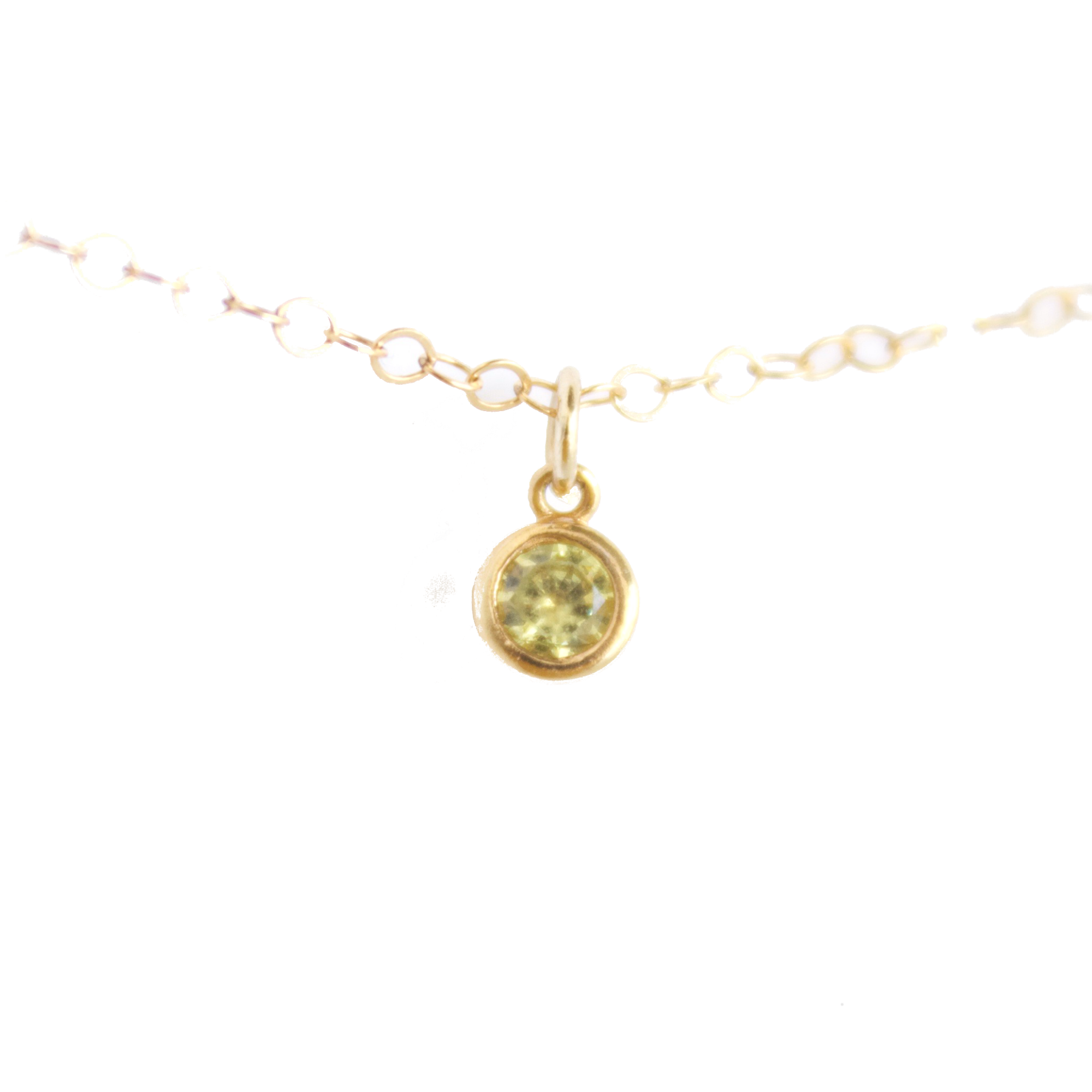 Tiny Birthstone Necklace || August || Peridot - BORCIK