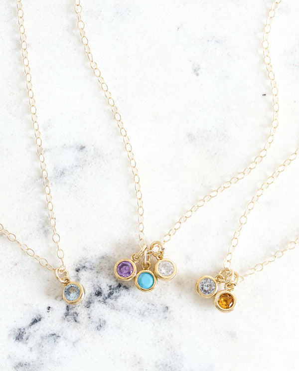 Tiny Birthstone Necklace || You choose number of birthstones - BORCIK