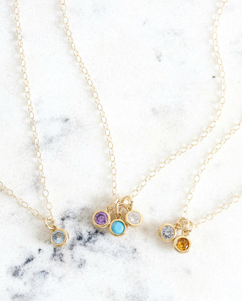 Tiny Birthstone Necklace || You choose number of birthstones