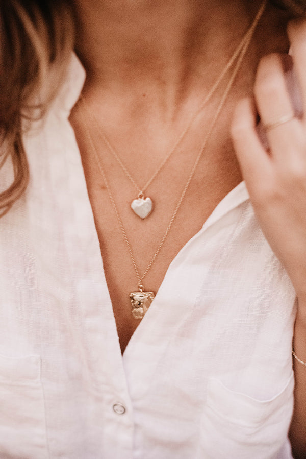 je t'aime fresh water pearl heart necklace