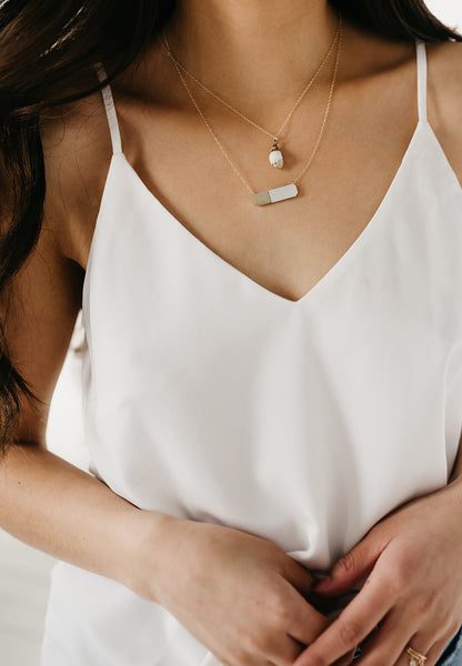 MOTHER! mother of pearl bar necklace
