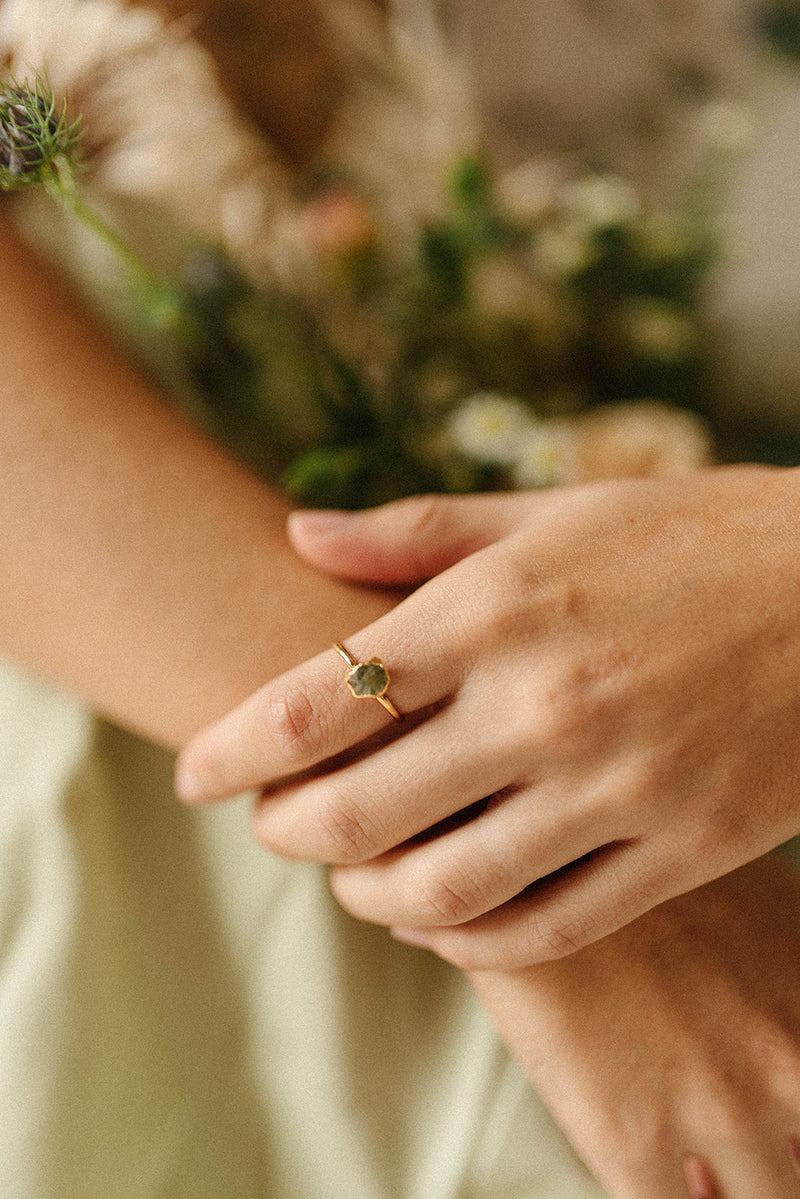 Raw Peridot Ring - August Birthstone Ring