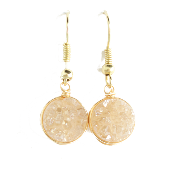 Champagne Druzy Drop Earrings - BORCIK