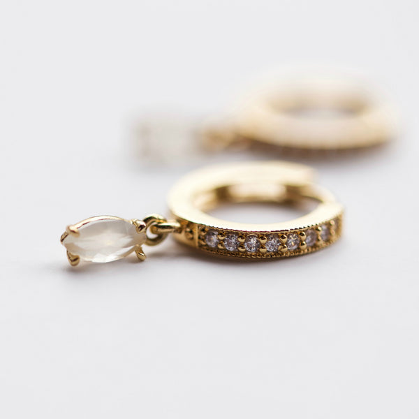 Mara Hoop Earrings || Moonstone