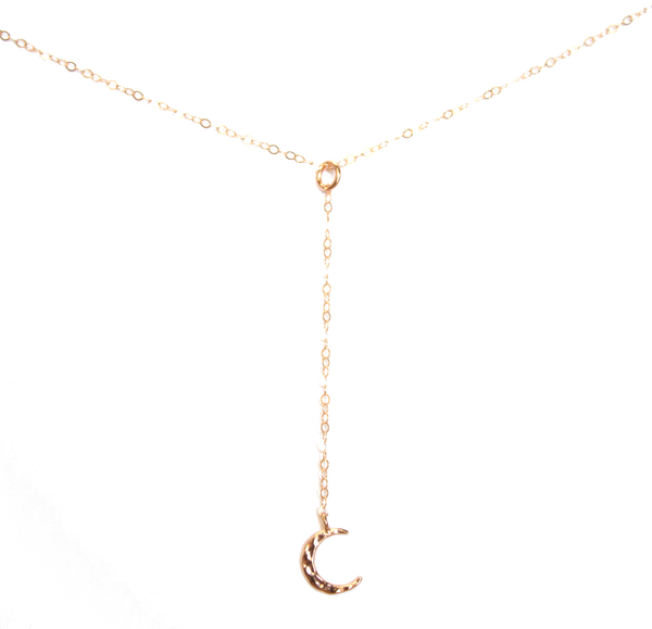 Hammered Moon Lariat Necklace - BORCIK