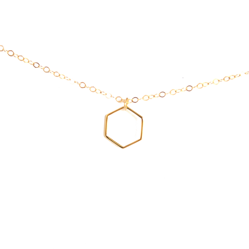 Minimalist Hexagon Necklace - BORCIK