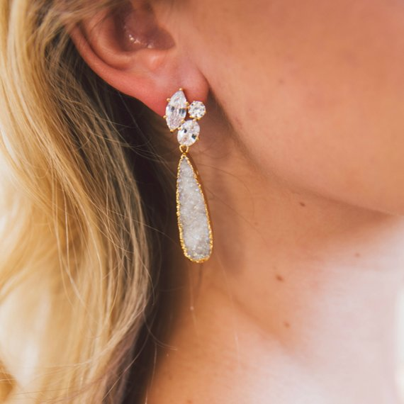 Bridal Druzy Earrings