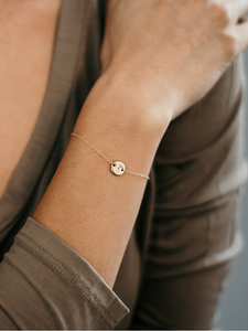 Semicolon Tiny Gold Disc Bracelet