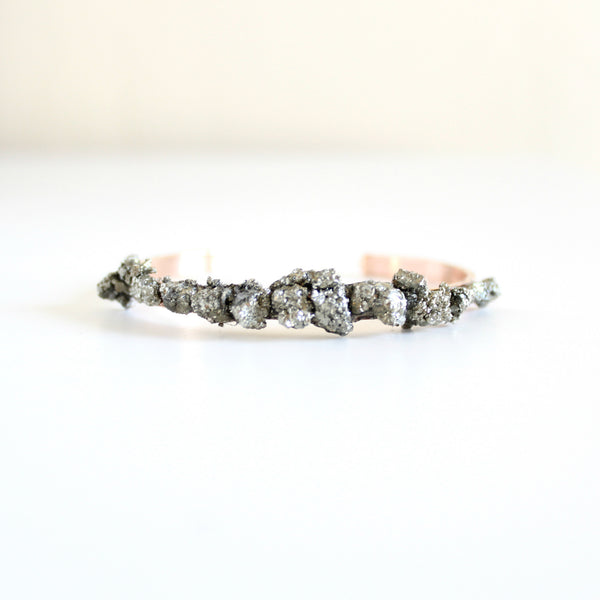 Crushed Pyrite Rose Gold Cuff - BORCIK