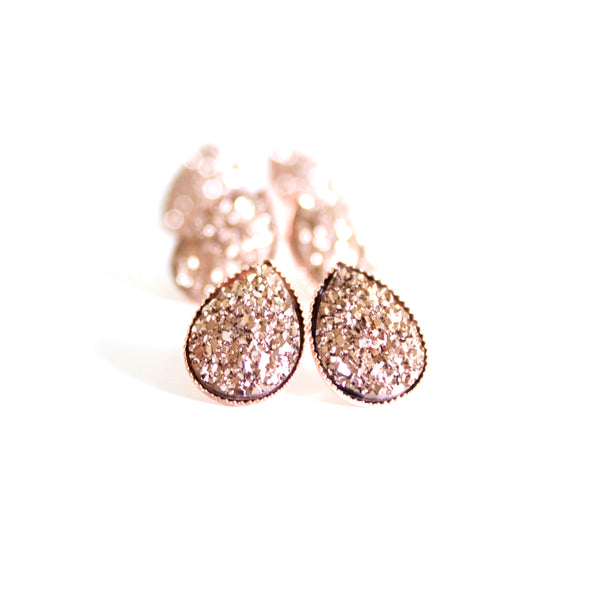 Rose Gold Druzy Teardrop Studs
