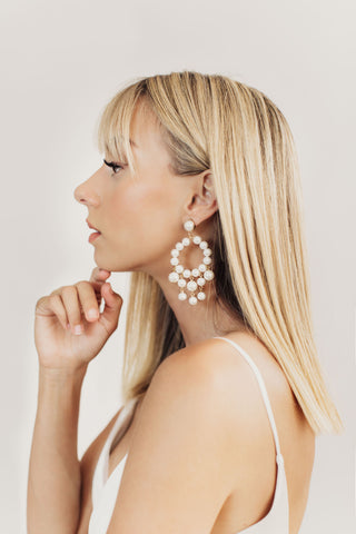 Clara Pearl Dangle Bridal Earrings