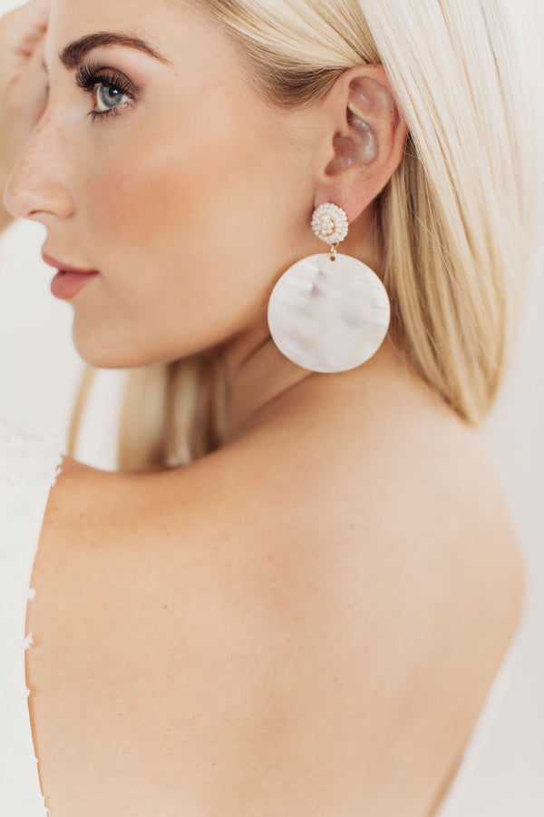 Farrah Pearl and Shell Disc Bridal Earrings