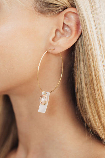 Sophia Peach and Mother of Pearl Bridal Earrings