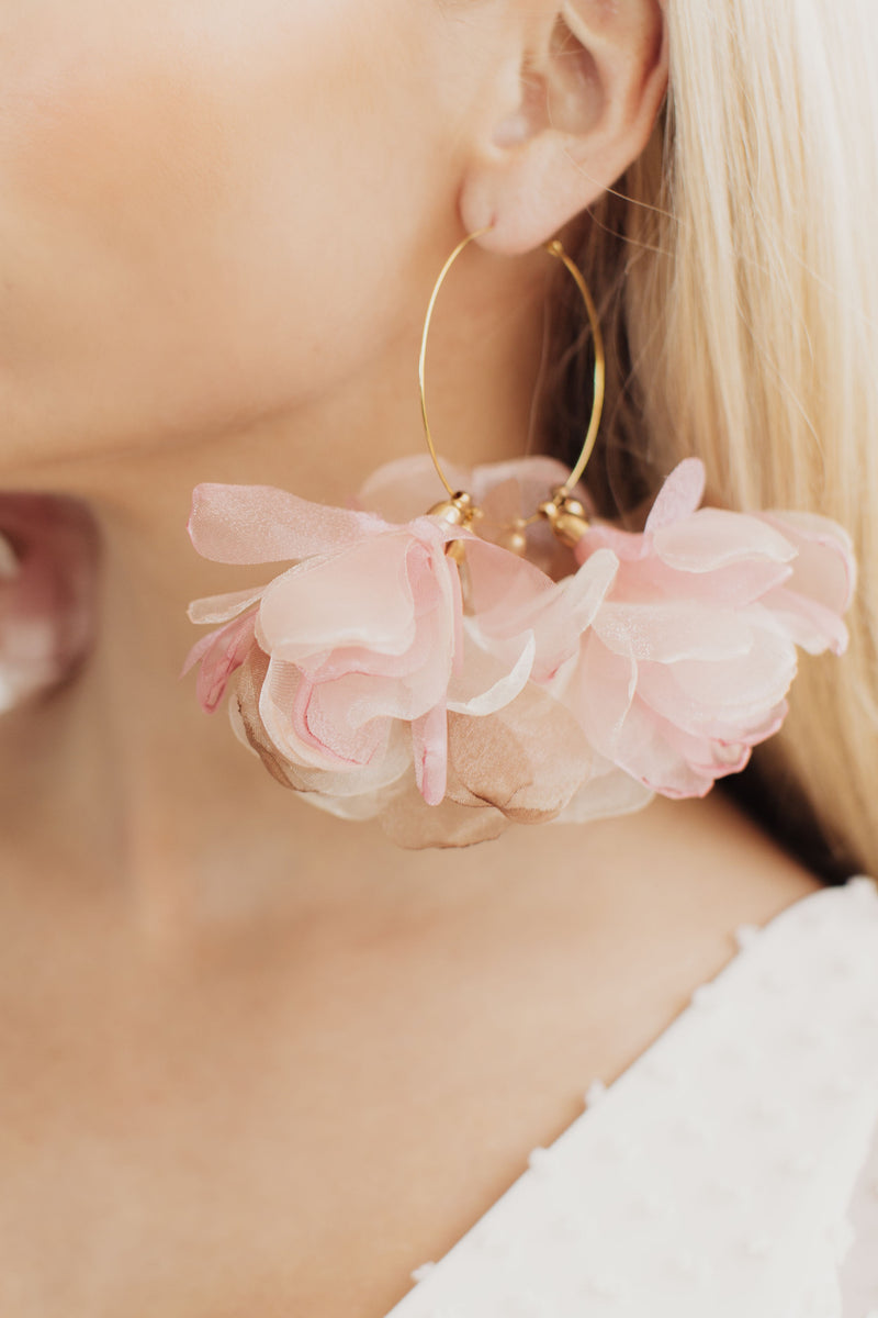 Olivia Organza Floral Statement Bridal Hoops