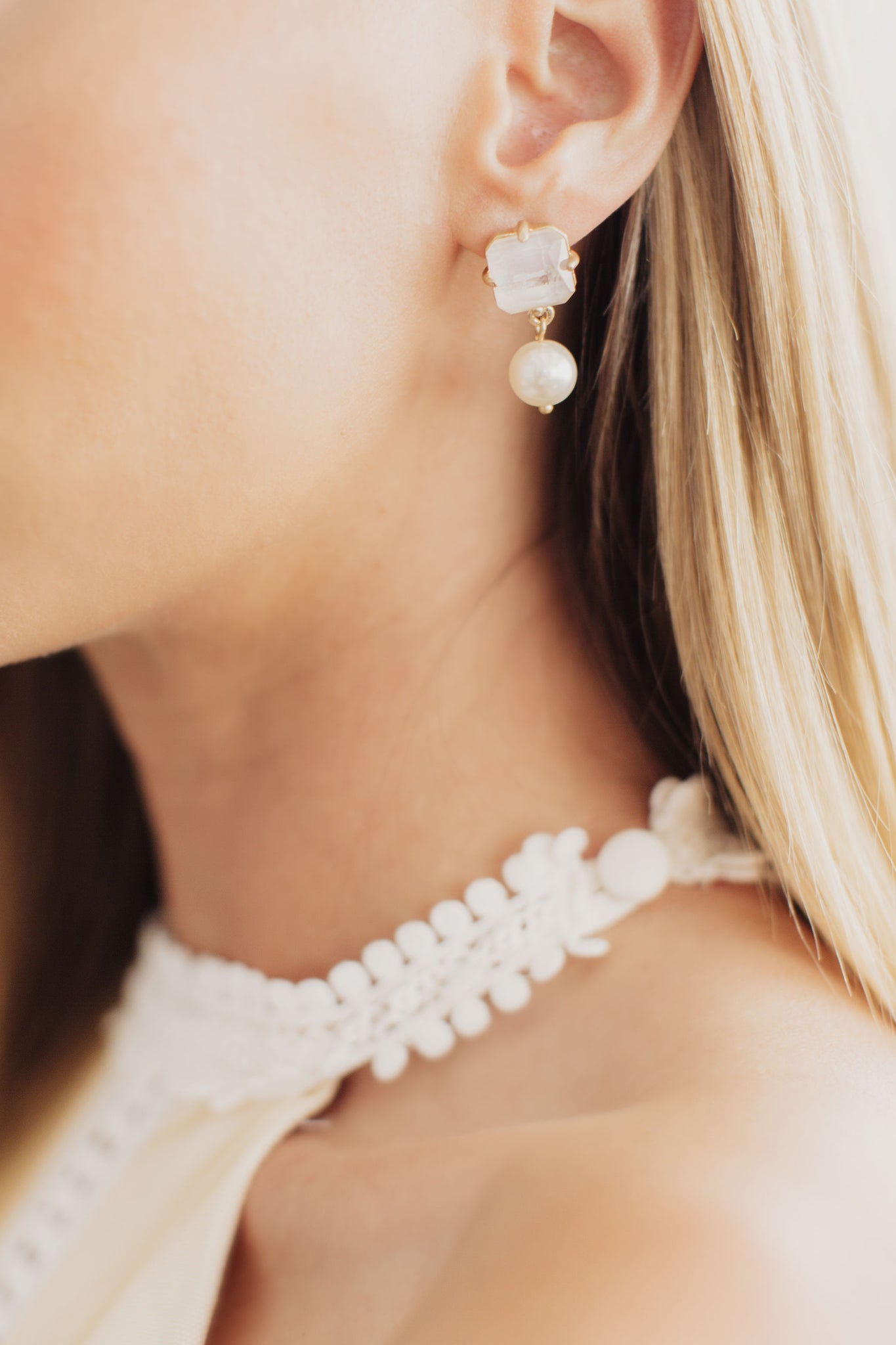 Laelia Moonstone and Pearl Bridal Earrings