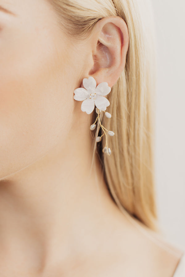 Iris Floral Branch Bridal Earrings