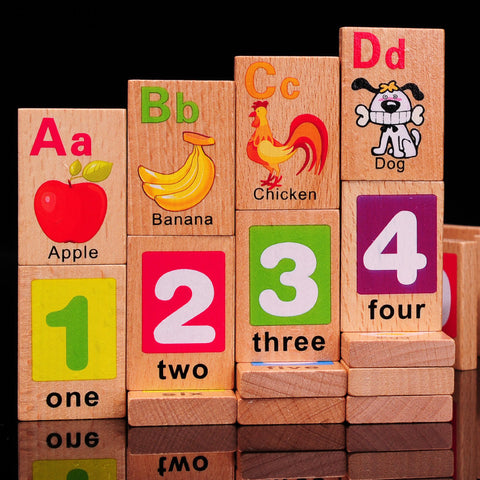 Beech alphanumeric Domino double 3-4-5-6 years old children enlightenment toy early education Montessori puzzle wooden toy