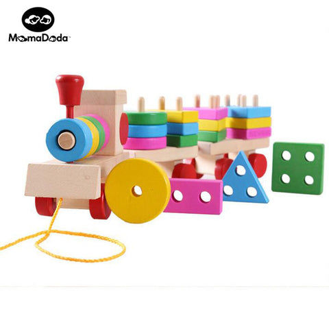 Kids Wooden Puzzle Train Montessori Educational Toy Math Geometry Color Cognitive Montessori Material Blocks Model For Children