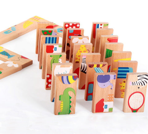 28 PCS Animal Domino Puzzles Toys Baby Kids Early Creativity Developing Wooden Puzzles High Quality Children Educational Toys