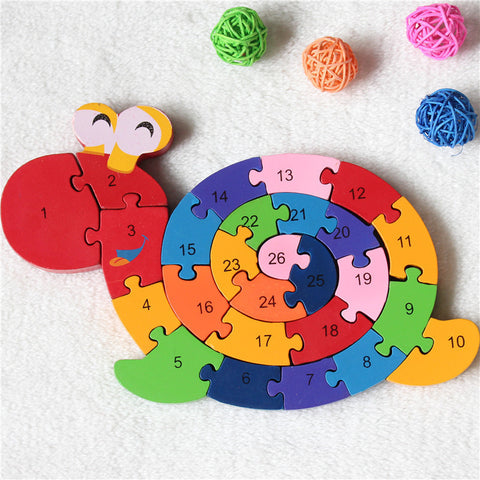 New Educational Toys Brain Game Kids Winding Snail Wooden Toys Wood Kids 3d Puzzle Wood Brinquedo Madeira  Kids Jjigsaw Puzzles
