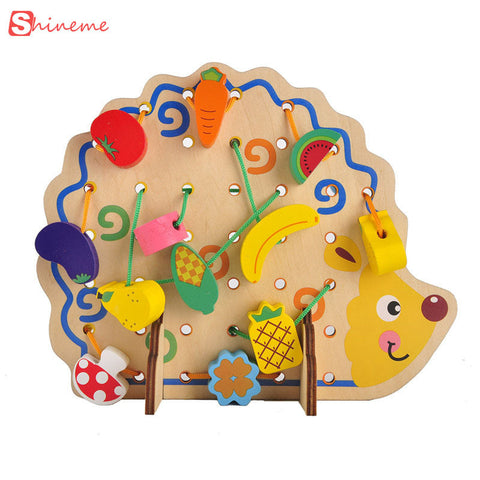 Funny Wooden Math toys hedgehog lacing beads fruit learning kids gift bright educational soft Montessori children intelligent