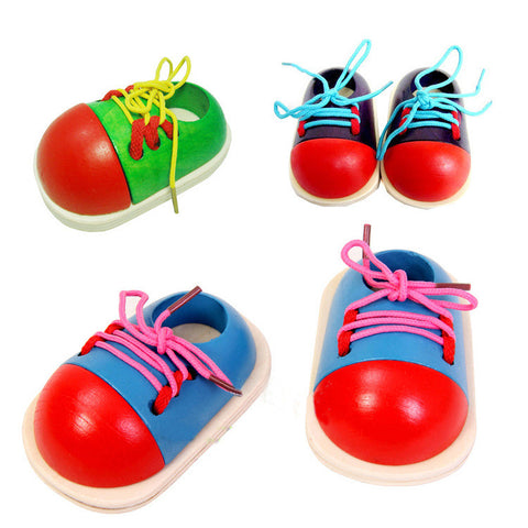 Random Color Kids Wooden Toys Toddler Lacing Shoes Early Educational Montessori Teaching Aids