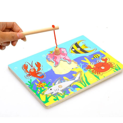 3D Magnetic Educational Fishing Puzzles Wooden Toys Gifts for Baby Kids Children Birthday Party Interactive Funny Games