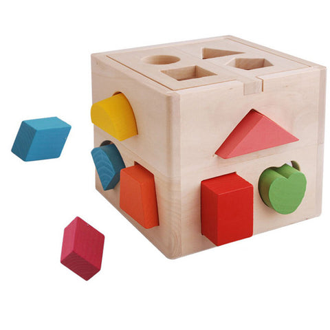 Wooden Educational Toys Children's Toys Thirteen Hole Intelligence Box Shape Infants And Preschool With Blocks Minifigure