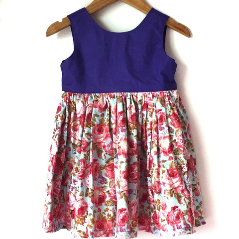 Megan Blue Tea Party Dress with Purple Bodice