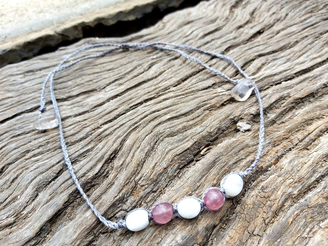 Moonstone & Strawberry Quartz Choker