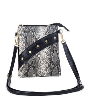 Open image in slideshow, Sling Bags - Brown Snake Print grey