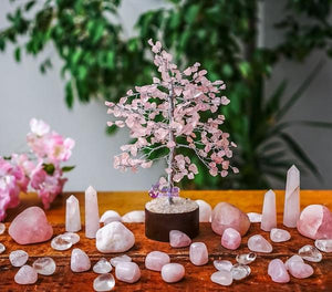 Rose Quartz Crystal Tree - Silver branches - Trickstar & CoAUS CrystalsCrystals