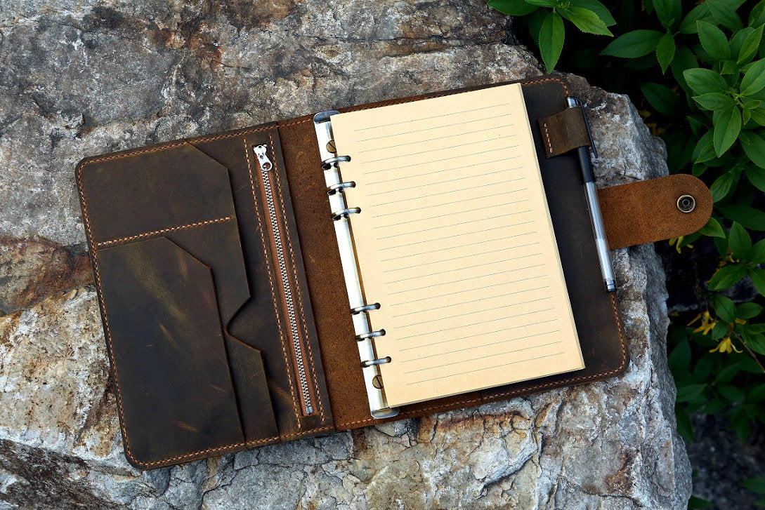 Personalized Leather Notebook Travel Journal Business Portfolio