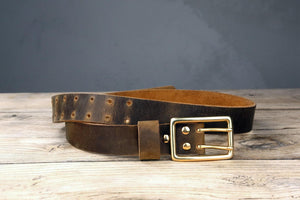 double hole leather work belt