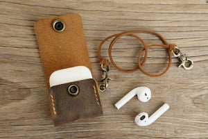 distressed leather minimalist mens airpod pro case holder