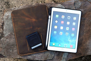 leather iPad sleeve stand holder