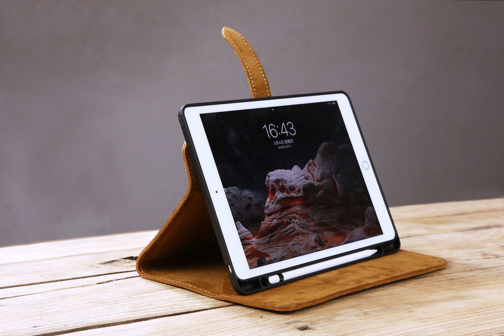 genuine leather ipad air case with pencil holder