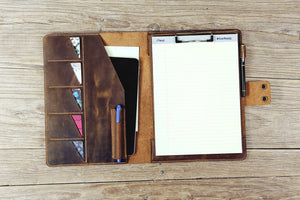 leather business padfolio with clip board