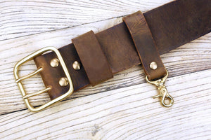 heavy duty leather belt key clip