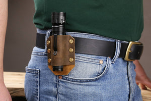 distressed leather flashlight belt holder