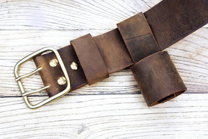 duty full grain leather belt hanger holder