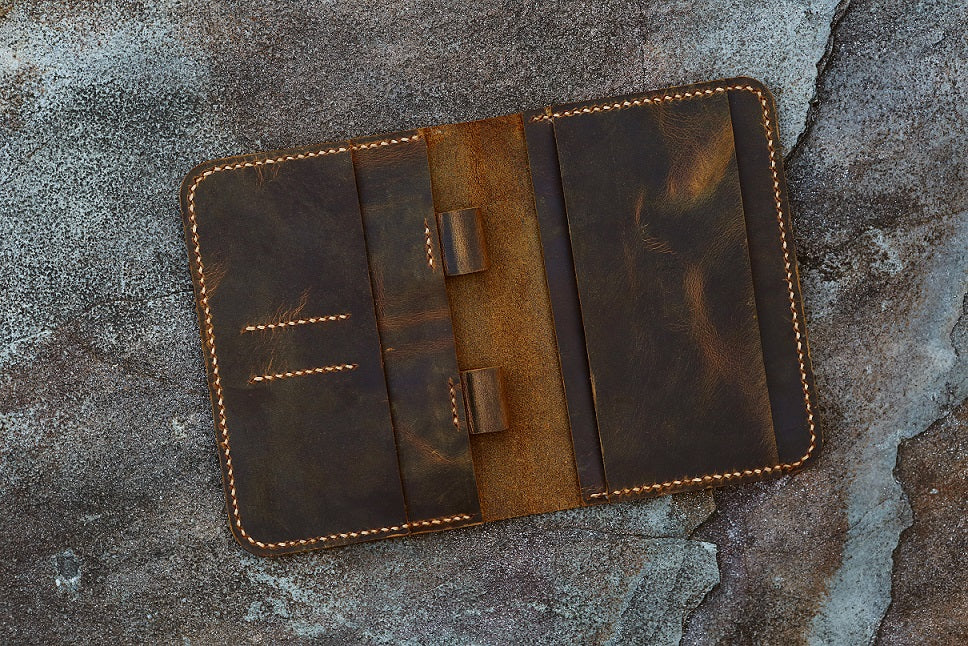 Vintage leather cover for A6 notebook travel journal