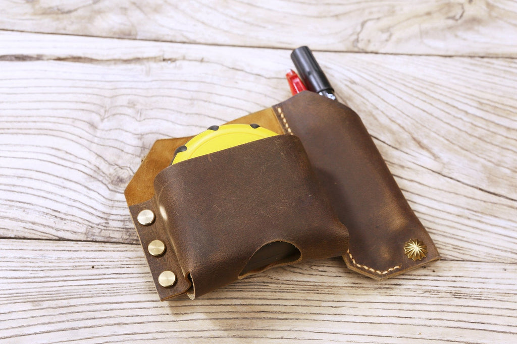 Personalized full grain Leather tape measure holder pouch