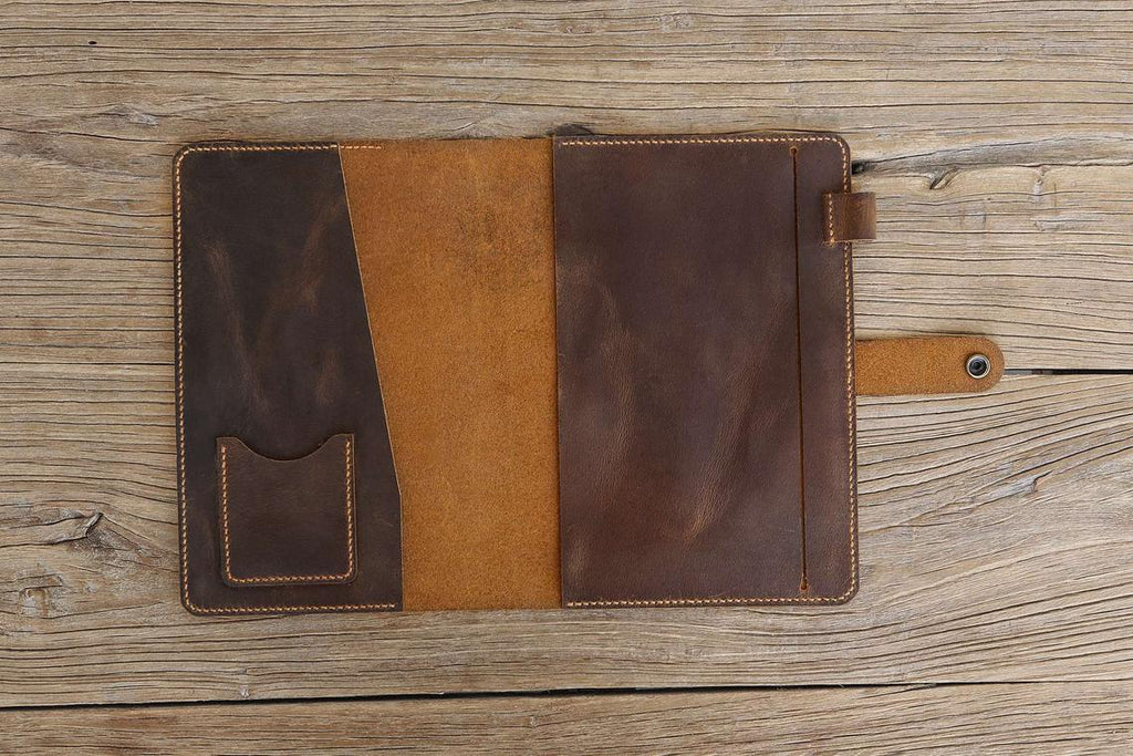 Personalized distressed leather cover for full focus planner journal