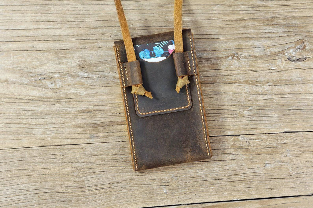 Distressed leather phone crossbody sling bag